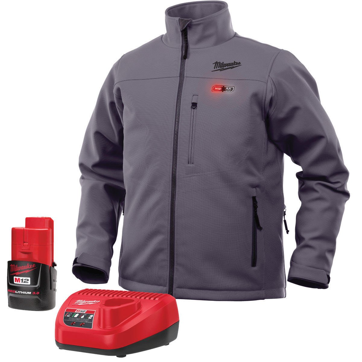 Milwaukee M12 Heated Jacket Kit - Battery and Charger Included (XL, Gray)
