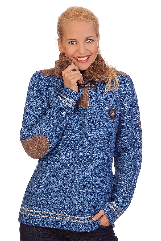 Damen Trachten Strickpullover - TUNDRA - blau, rot