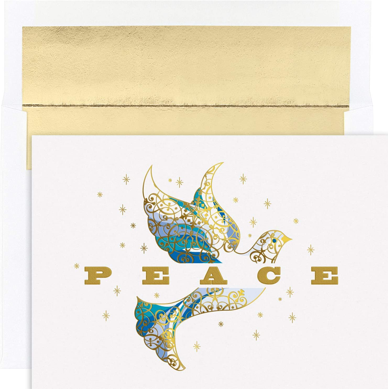 Masterpiece Studios Holiday Collection 16 Cards / 16 Foil Lined Envelopes, Elegant Dove