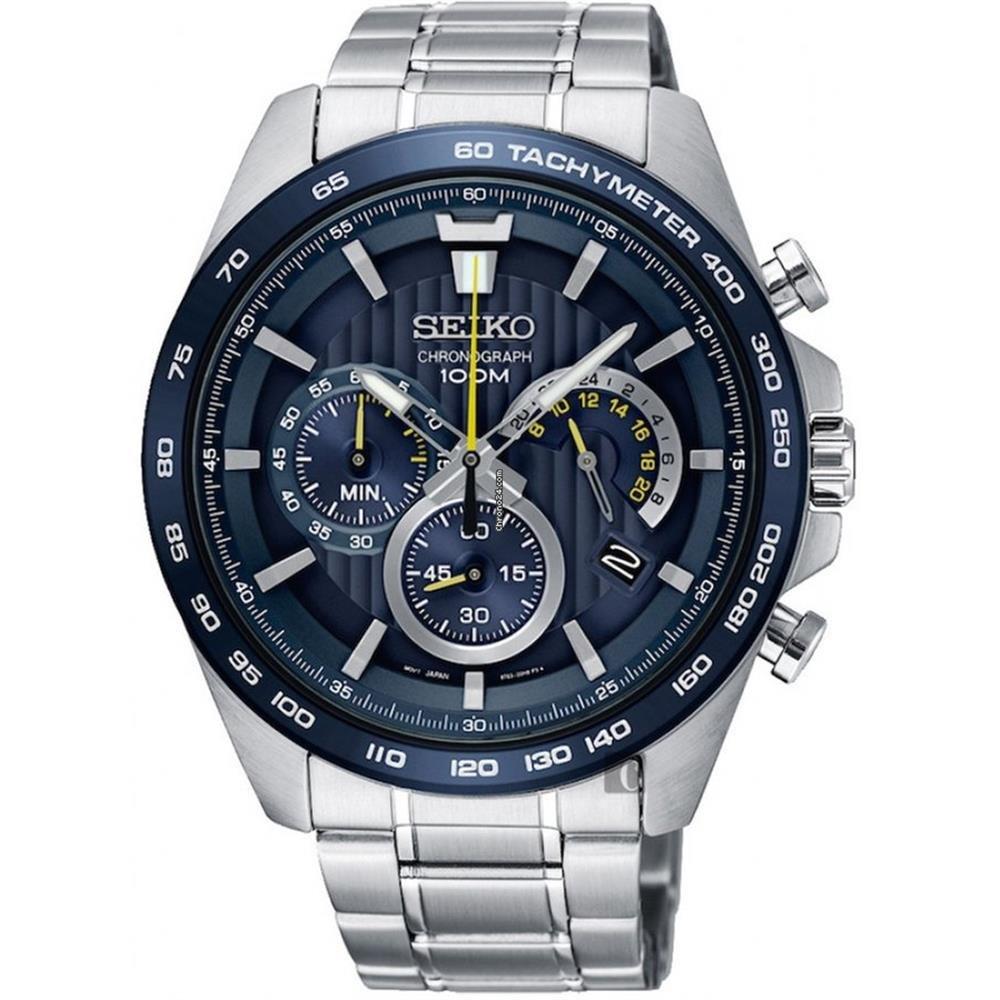 Seiko Chronograph Blue Dial Mens Watch SSB301P1