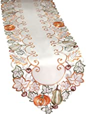 Collections Etc Autumn Harvest Diecut Decorative Table Linens, Runner