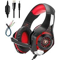 Mengshen Auriculares para Juegos para PC/Laptop/Smartphones / PS4 / Xbox One - con Micrófono, Control de Volumen, Luces LED Frescas Y Almohadillas Suaves - GM1 Red