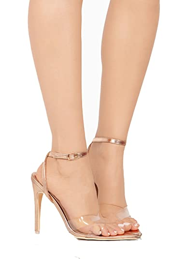 65ba74f9c7a Michelle Parker Cape Robbin DoubleCross Rose Gold Pointed Open Toe  Transparent Clear High Sandal (6