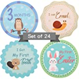 Baby Monthly Milestone Stickers - Set of 24 Cute Unisex Woodland Animals Month Stickers for Baby Boy or Girl, 0 to 12…