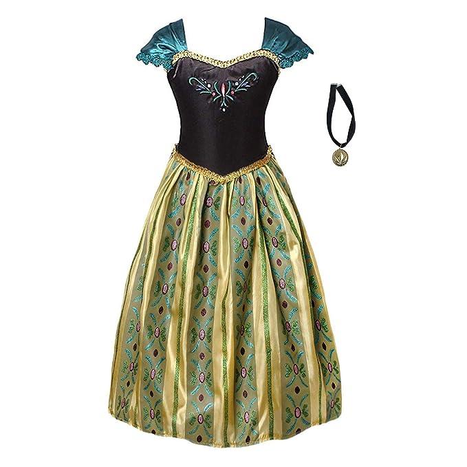FONLAM Vestido Disfraz de Princesa Fiesta Niña Ceremonia Vestido Bordado Infantil Cumpleaños Niña Carnaval