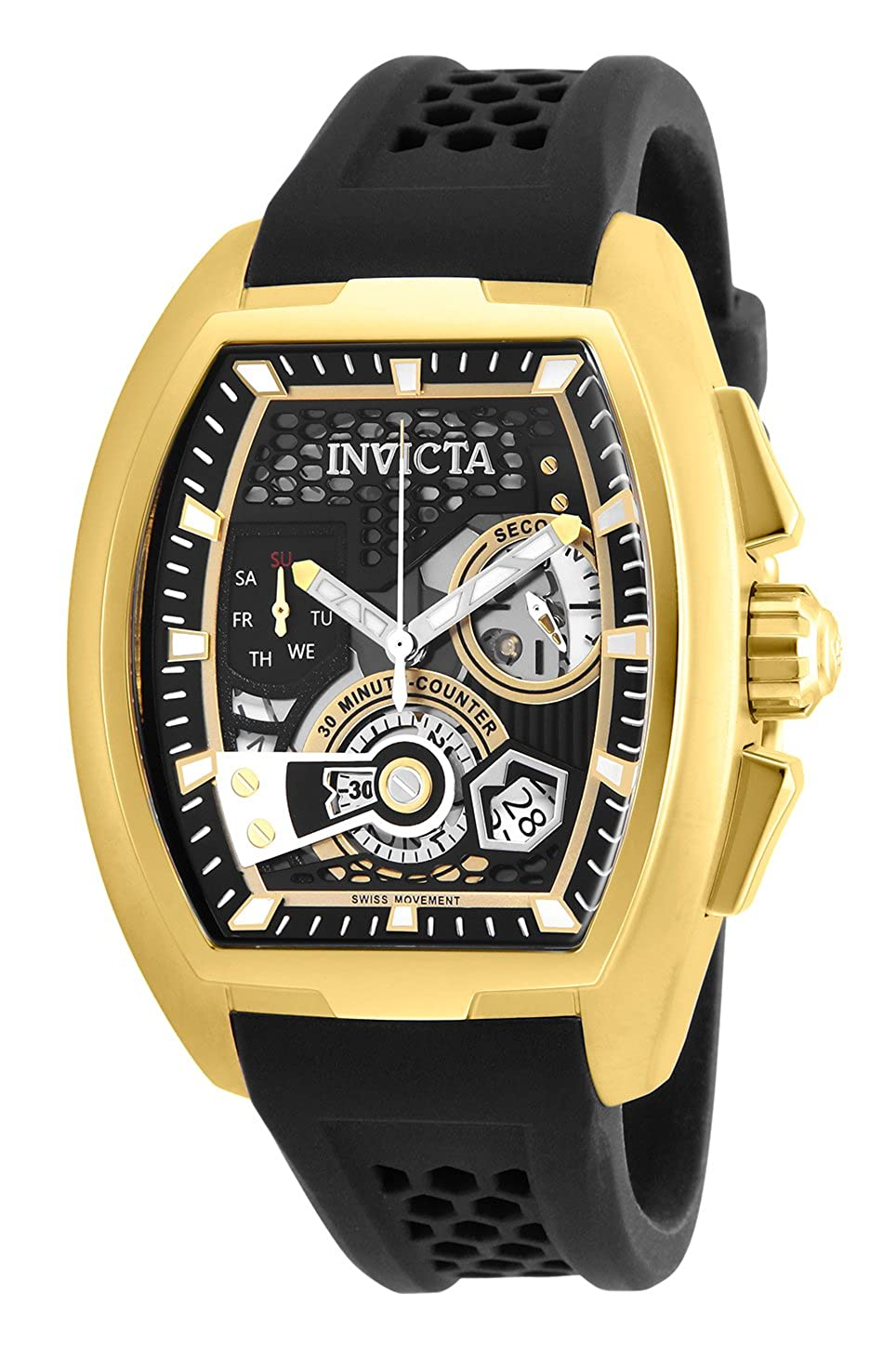 07a5dd2d2 Amazon.com: Invicta Men's S1 Rally Stainless Steel Quartz Watch with  Silicone Strap, Black, 22 (Model: 26398: Watches