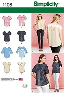 product image for Simplicity 1106 Women's Tops with Fabric Variations Sewing Pattern, Sizes XXS-XXL