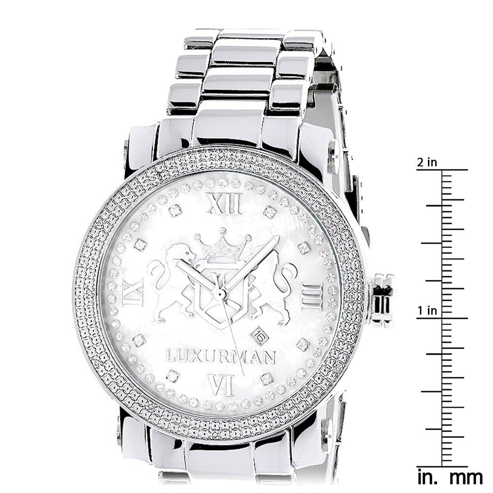 173160ca9c2 Amazon.com  Large Mens Diamond Watch White MOP LUXURMAN Phantom with  Stainless Steel Band 0.12ct  LUXURMAN  Watches