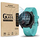 (Pack of 4) Tempered Glass Screen Protector for Garmin Forerunner 245/245 Music, Akwox [0.3mm 2.5D High Definition 9H…