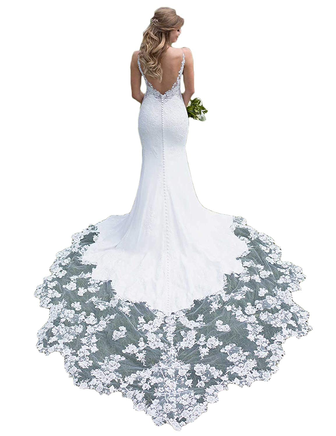 White RYANTH Women's Long Mermaid Wedding Dresses with Train 2019 Lace Bridal Gown Straps RWD12
