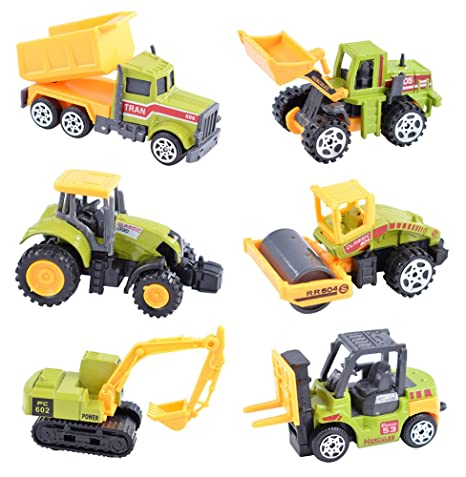 Review Cltoyvers 6 Pieces Mini Metal Construction Vehicle Toys Set for Kids - Forklift, Bulldozer, Road Roller, Excavator, Dump Truck, Tractor (Green)