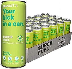 EBOOST Super Fuel Natural Nootropic Energy Drink | Electrolytes + Vitamins (B12) + Milk Thistle | Sports Preworkout Drink, Healthy Mixer, Travel, Work/Study (12 Fl oz, 24 Pack) (Ginger Lime)