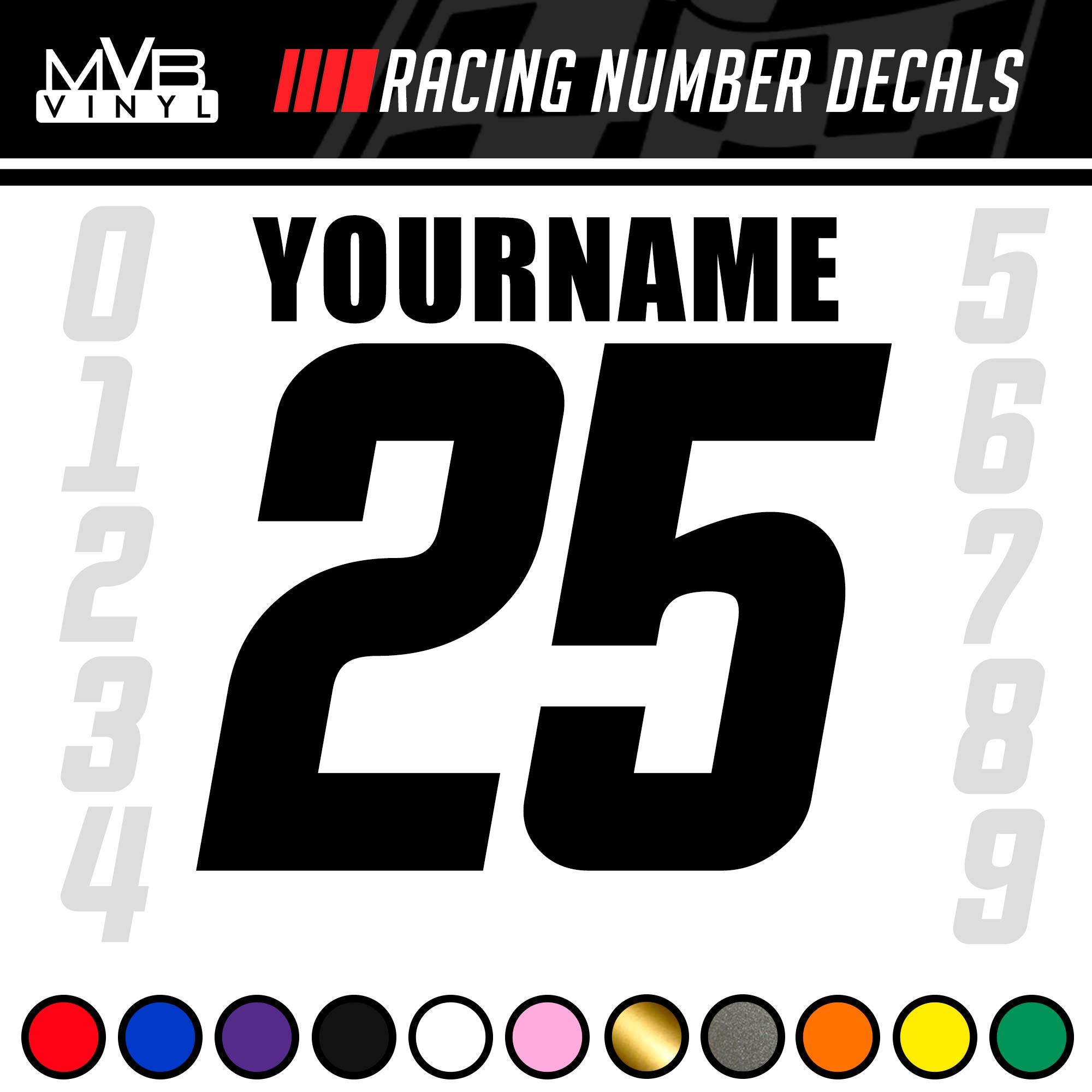 Racing Number Name Vinyl Decal Sticker | Dirt Bike Plate BMX Motocross Car Truck BMX