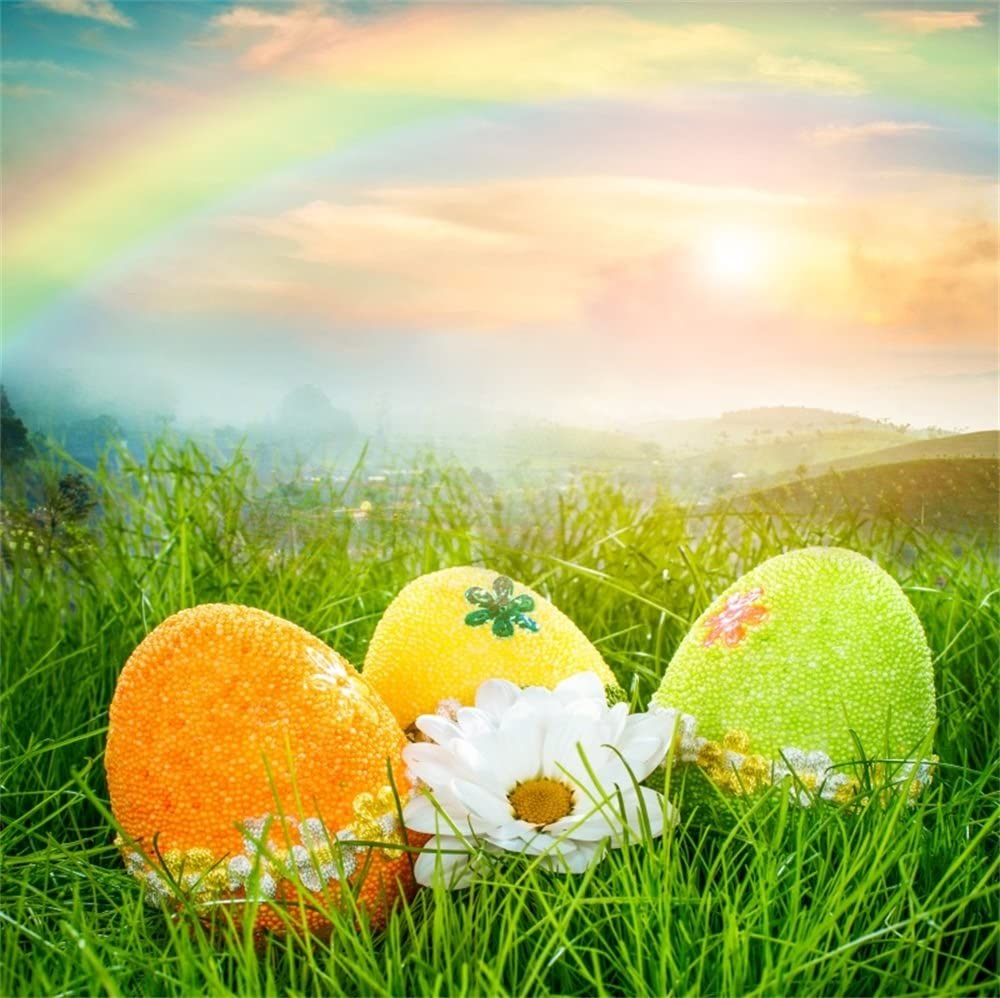 8x8ft Polyester Photography Backdrop Colorful Easter Eggs on Green Grass with White Flowers Sunset Scene Photo Background Children Baby Adults Portraits Backdrop