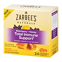 Zarbee's Naturals Elderberry + Honey Total Immune Support, with Vitamin C, D, E and Zinc, Natural Orange Flavor, 24 Count Chewable tablets