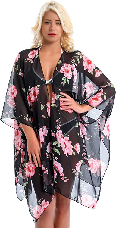 Women Chiffon Floral Beach Cardigan Bikini Cover Up Swimwear Kimono Kaftan Dress