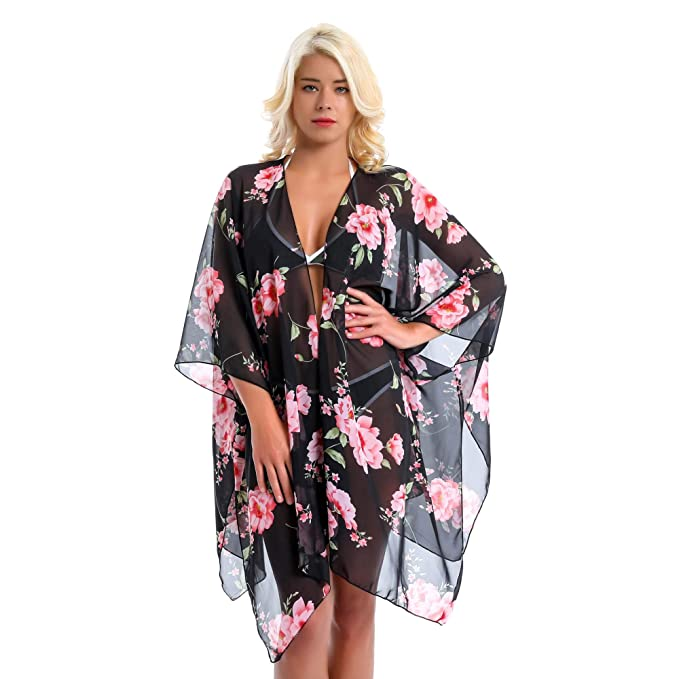 18b0b2e073 LANLEO Women Swimwear Bikini Cover Up Summer Beach Sheer Chiffon Floral Kimono  Cardigan Loose Tops (