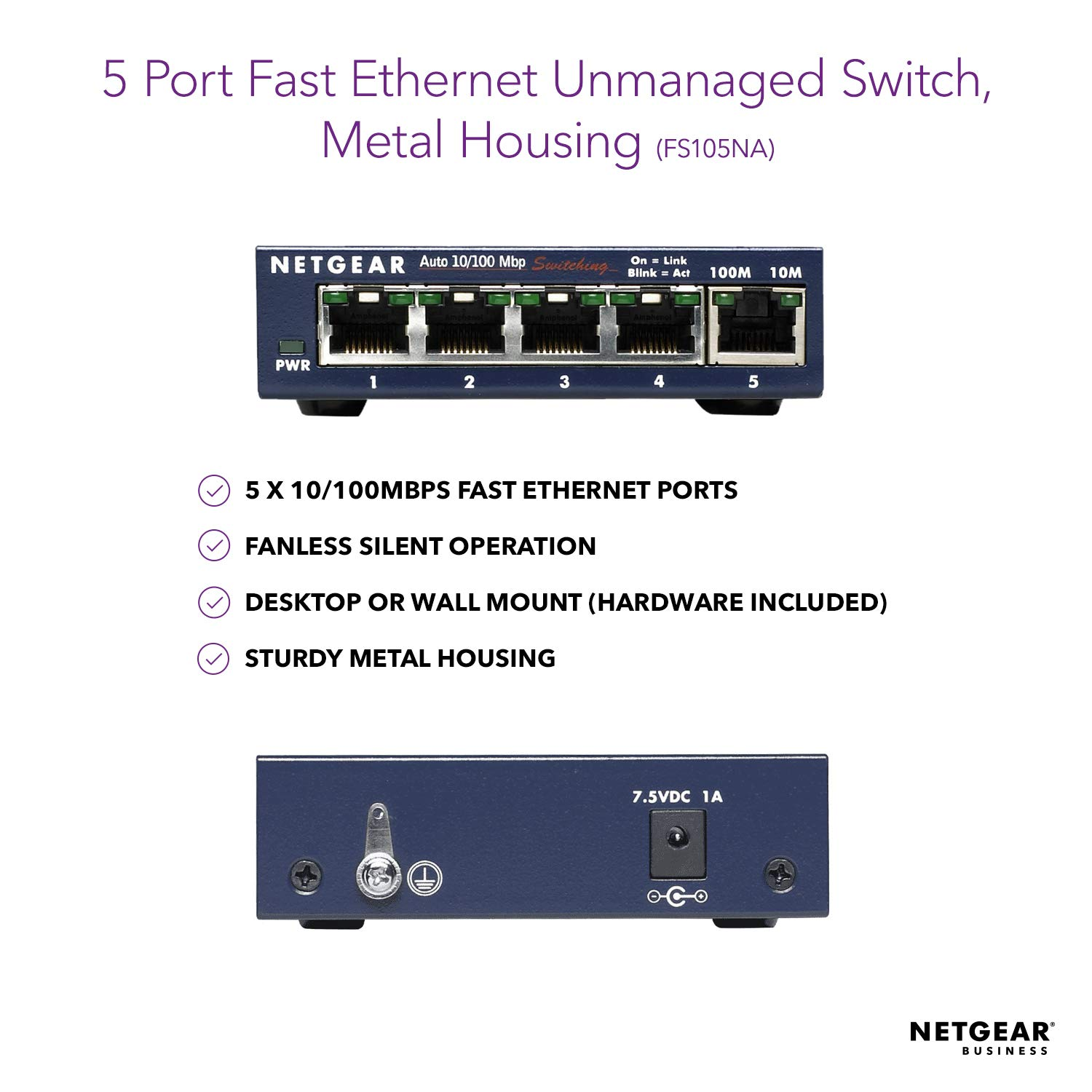 NETGEAR 5-Port Fast Ethernet 10/100 Unmanaged Switch (FS105NA) - Desktop, on