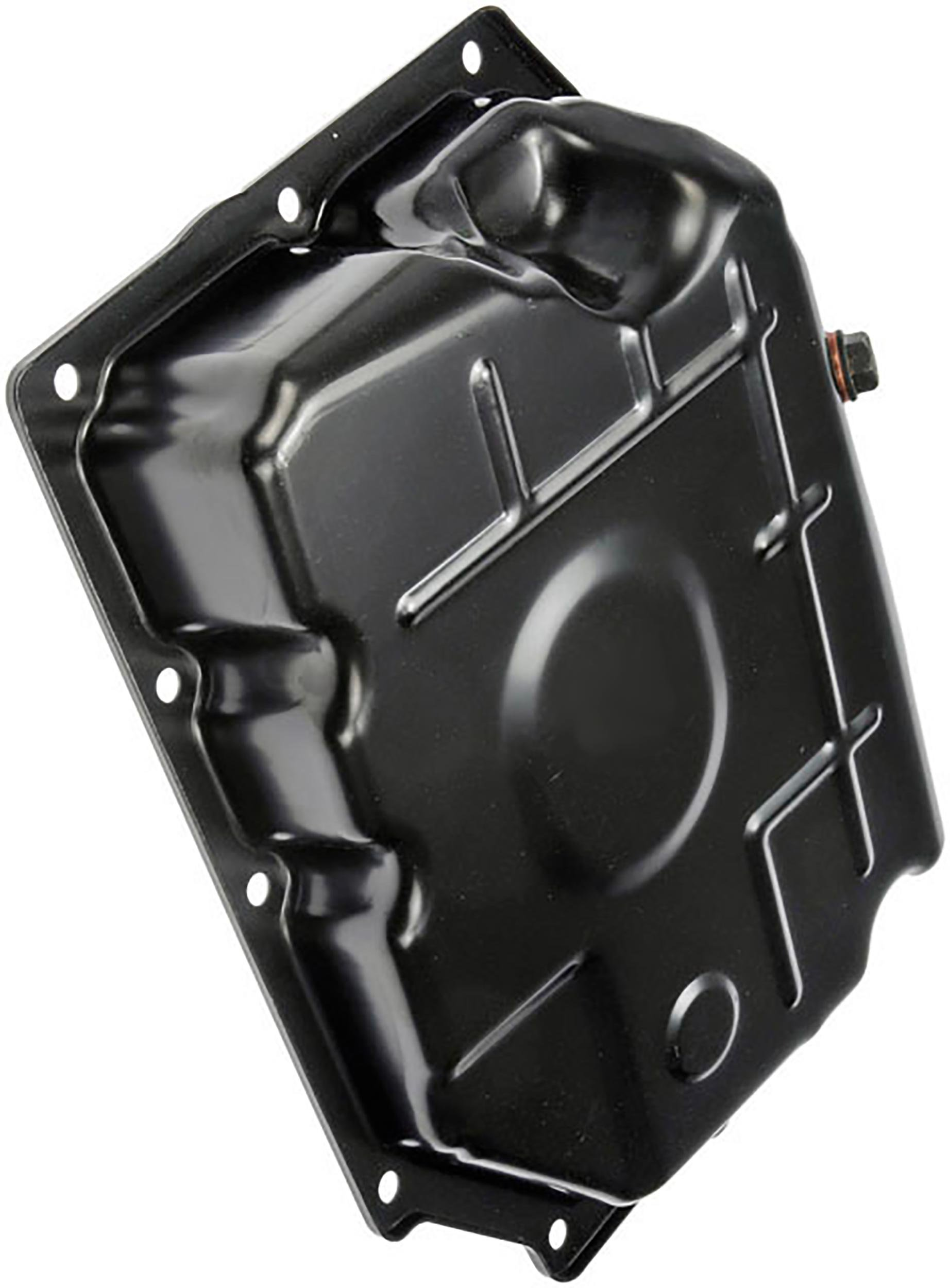 APDTY 113672 Transmission Steel Oil Pan Upgraded With Drain Plug Fits 42RLE Transmission Identifed By 13 Bolt Holes Fits Select Chrysler Dodge Jeep Mitsubishi Models Replaces 52852912AC, 52852912AB