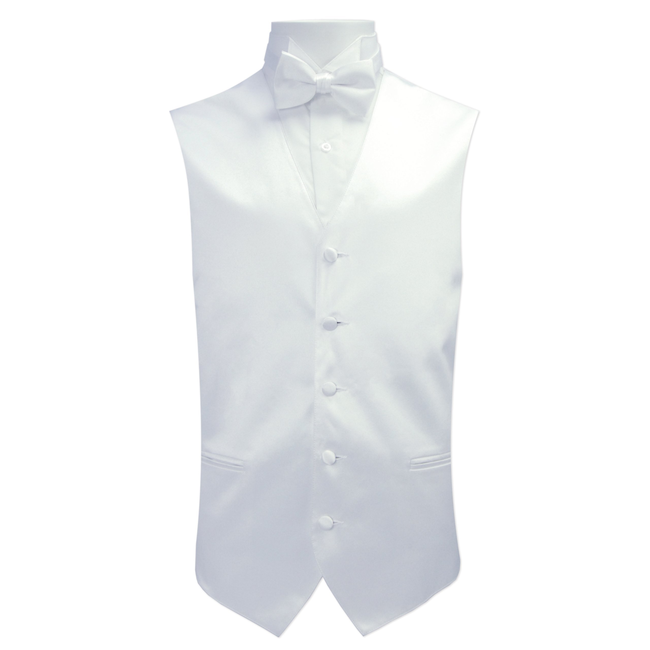 Satin Color Vests with Tie (2XL with Bow Tie, White)