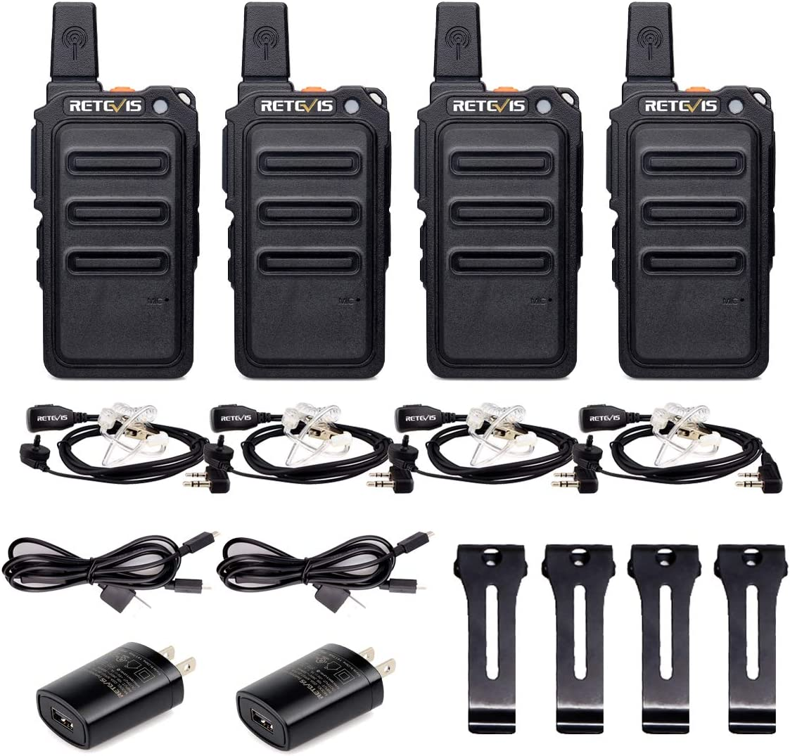 Retevis RT19 Walkie Talkies Adults,Rechargeable Long Range Two Way Radio Mini,VOX Hands Free,1300mAh Battery,Metal Clip,with Earpiece(4 Pack)