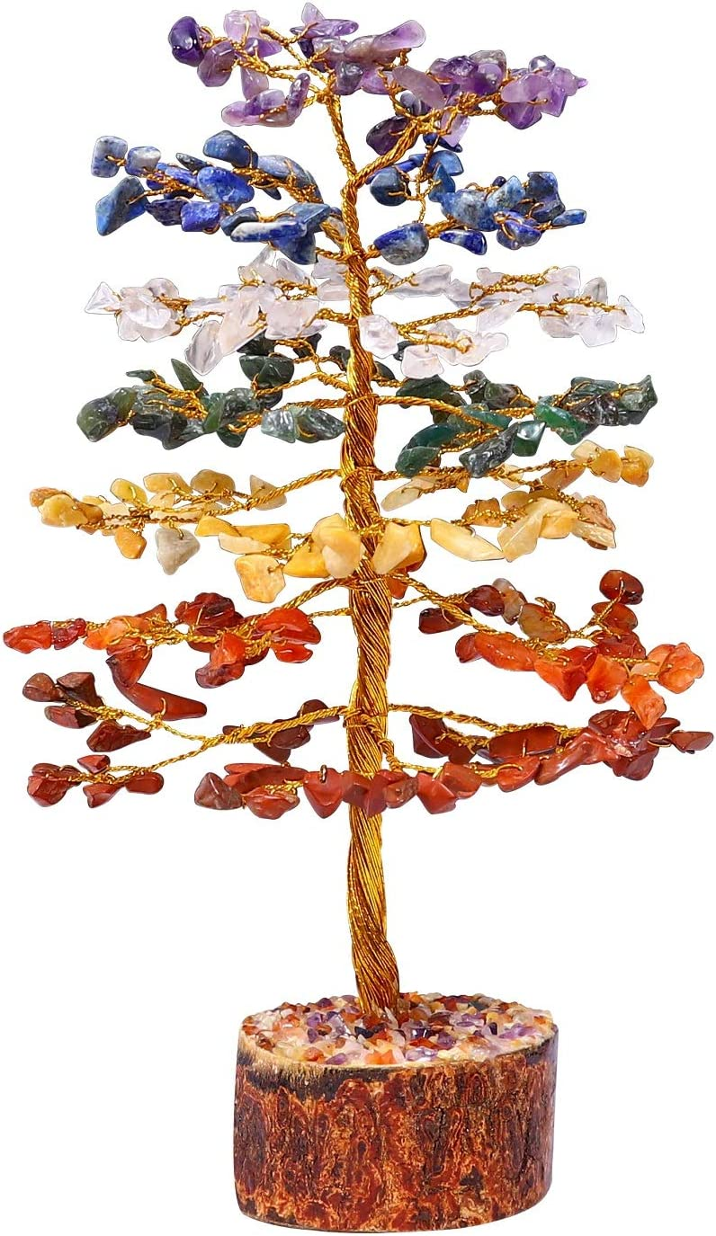 ZAICUS Gemstone Money Tree Feng Shui Bonsai Reiki Healing Stone Chakra Balancing Energy Generator Aura Cleansing Spiritual Gift Good Luck Home Office Decor (Seven Chakra Golden Wire 10 Inches)