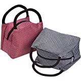 Outus 2 Pieces Zipper Lunch Tote Bags Picnic Grocery Handbags for Travel, School and Work (Black and Red)