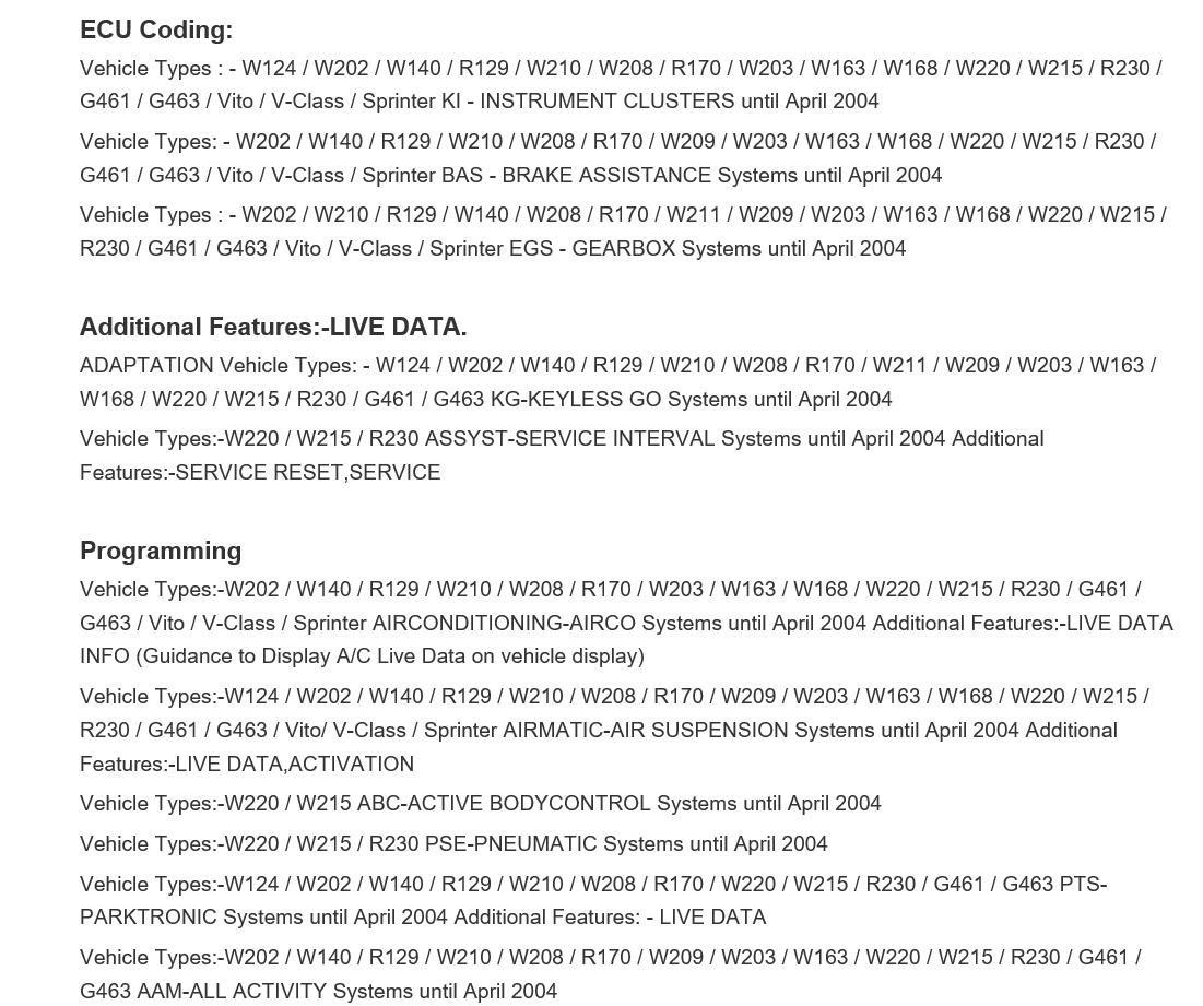 For Mercedes Benz Carsoft 7 4 Multiplexer (cs300), Code