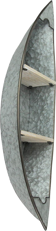 Audrey's Galvanized Zinc Finish Canoe Shaped Wall Mounted Shelf Lake/Lodge Decor