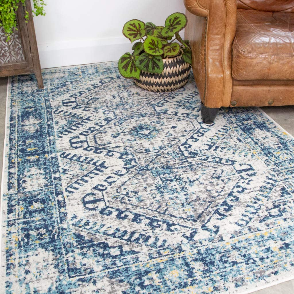 Traditional Navy Blue Aztec Rug Vintage Inspired Distressed Bohemian Living Room Area Bedroom Rugs 120cm X 170cm Amazon Co Uk Kitchen Home
