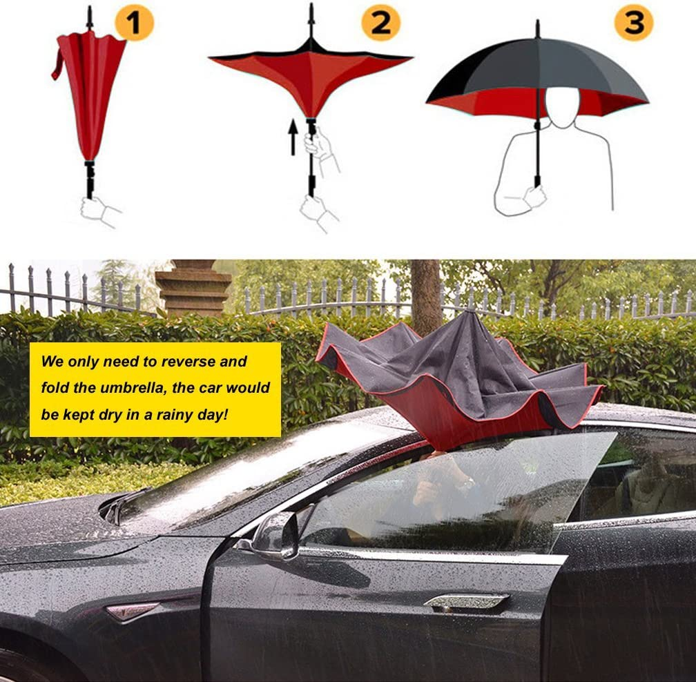 Best for Travelling and Car Use DOLIROX Inverted Umbrella Windproof Reverse Folding Double Layer and Rain Protection Umbrella with C-Shaped Hands Free Handle