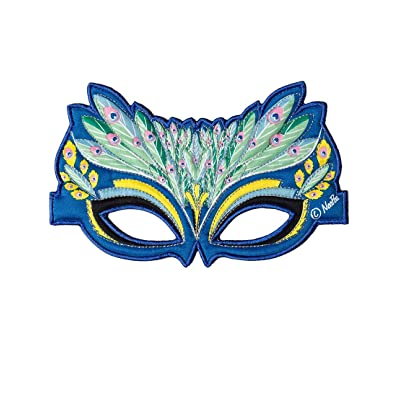 Fanciful Fabric Peacock Mask, 7''L: Toys & Games