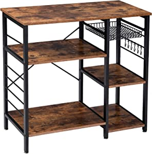YMYNY Industrial Kitchen Baker's Rack, Microwave Oven Stand 3-Tier Kitchen Organizer Workstation, Utility Storage Shelf Coffee Bar with 6 Hooks, Easy Assembly, Rustic Brown UHTMJ021H
