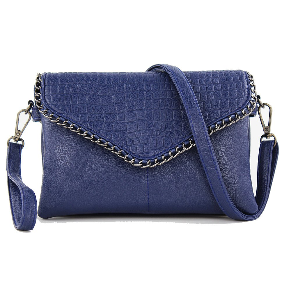 women shoulder bag ladies Shoulder Handbags blue envelope hand bag bao bao evening clutch bag womens handbags and purses bolsos mujer (Large, blue)
