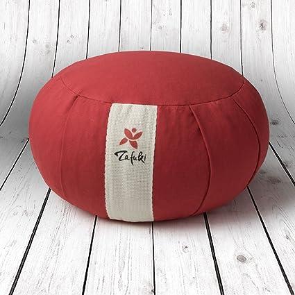Cojín redondo para yoga con velcro de seguridad para relleno de cáscara de espelta (cultivo biológico) / Ideal para practicar yoga / Cojín zafu / ...