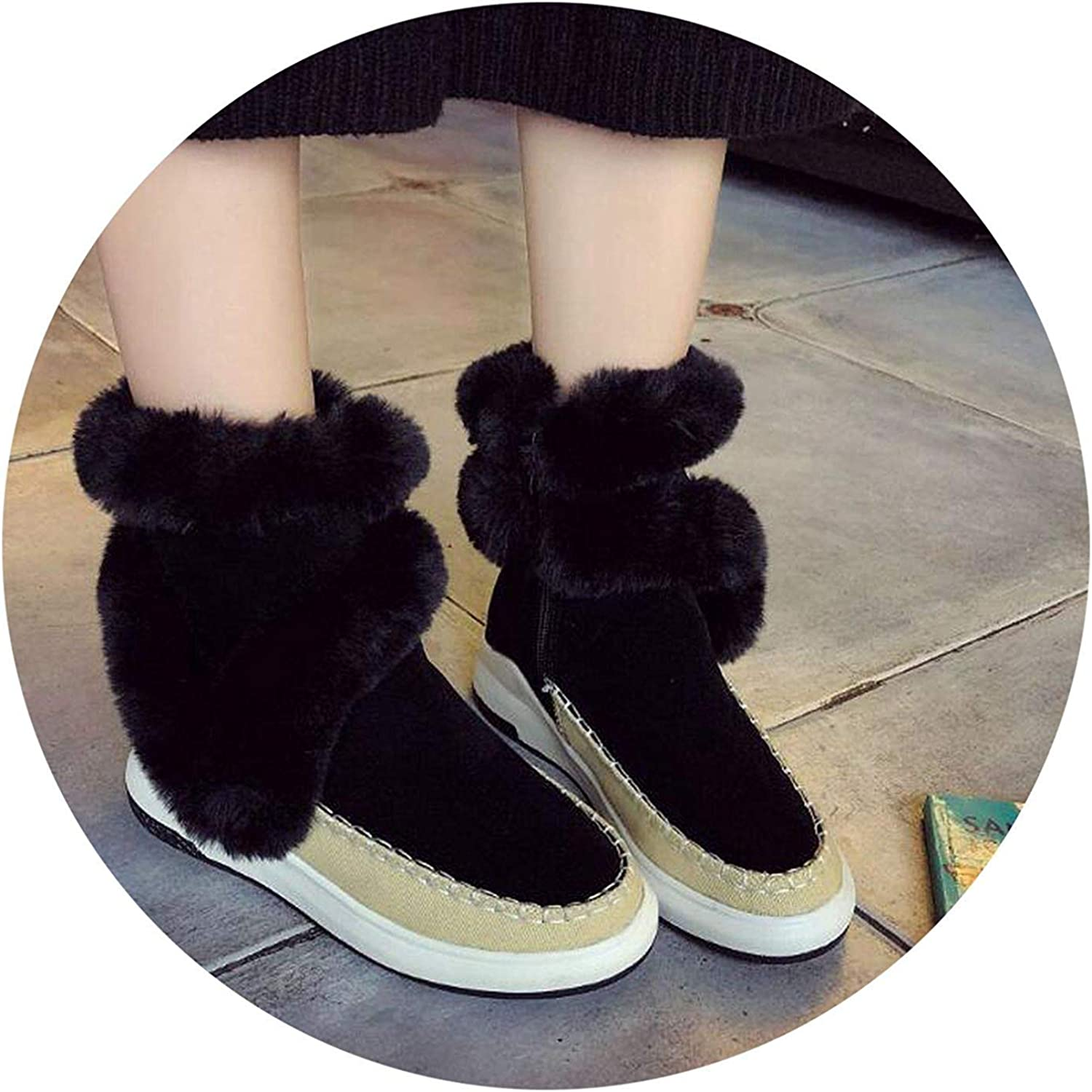Boots Wedge Platform Winter Warm Snow Boots Plush Boots for on Fe Shoes F860,8MUS,Gray