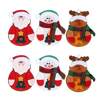 Deggodech 6 Piezas Bolsa Cubiertos Navidad de Monigote de Nieve Elk Papá Noel Cubertería Decoración Navidad Bolsillos Tenedores Cucharas y Cuchillos Bolso ...