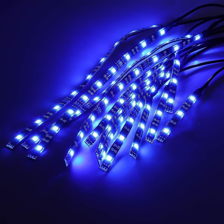 Justech 12pcs Kit de Tiras de Luces de Motocicleta 15 Colores RGB 72 LED Neon Flexible Juego de Tiras de Luces Control Remoto Inal/ámbrico