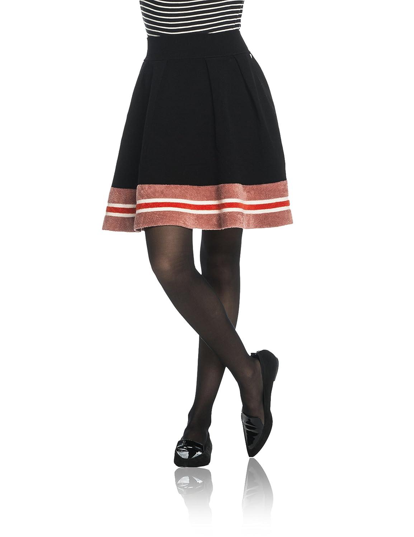 Maison Scotch Damen Rock Knitted Skirt with Sporty Stripes At Hem