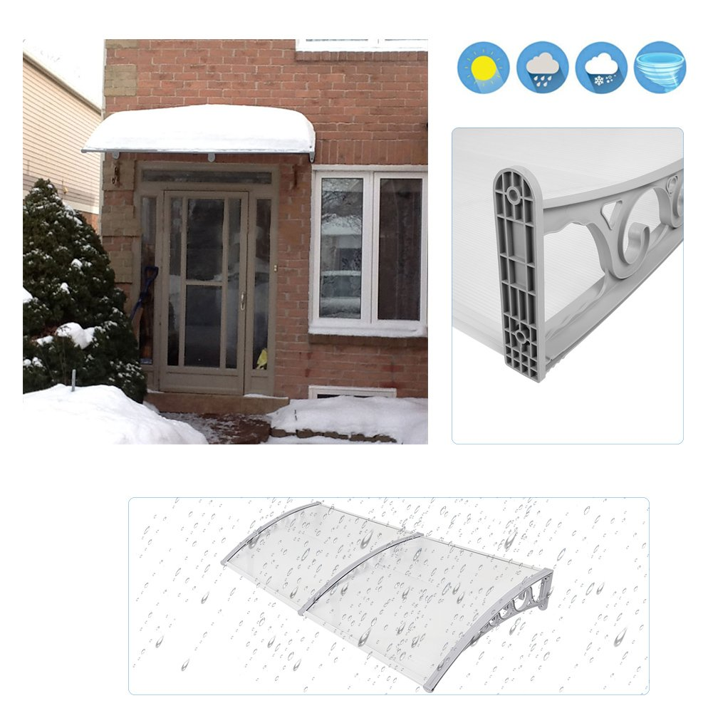 80x120cm Door Canopy Outdoor Window Garden Awning Shelter Rain Snow Patio Porch Shade Roof Cover