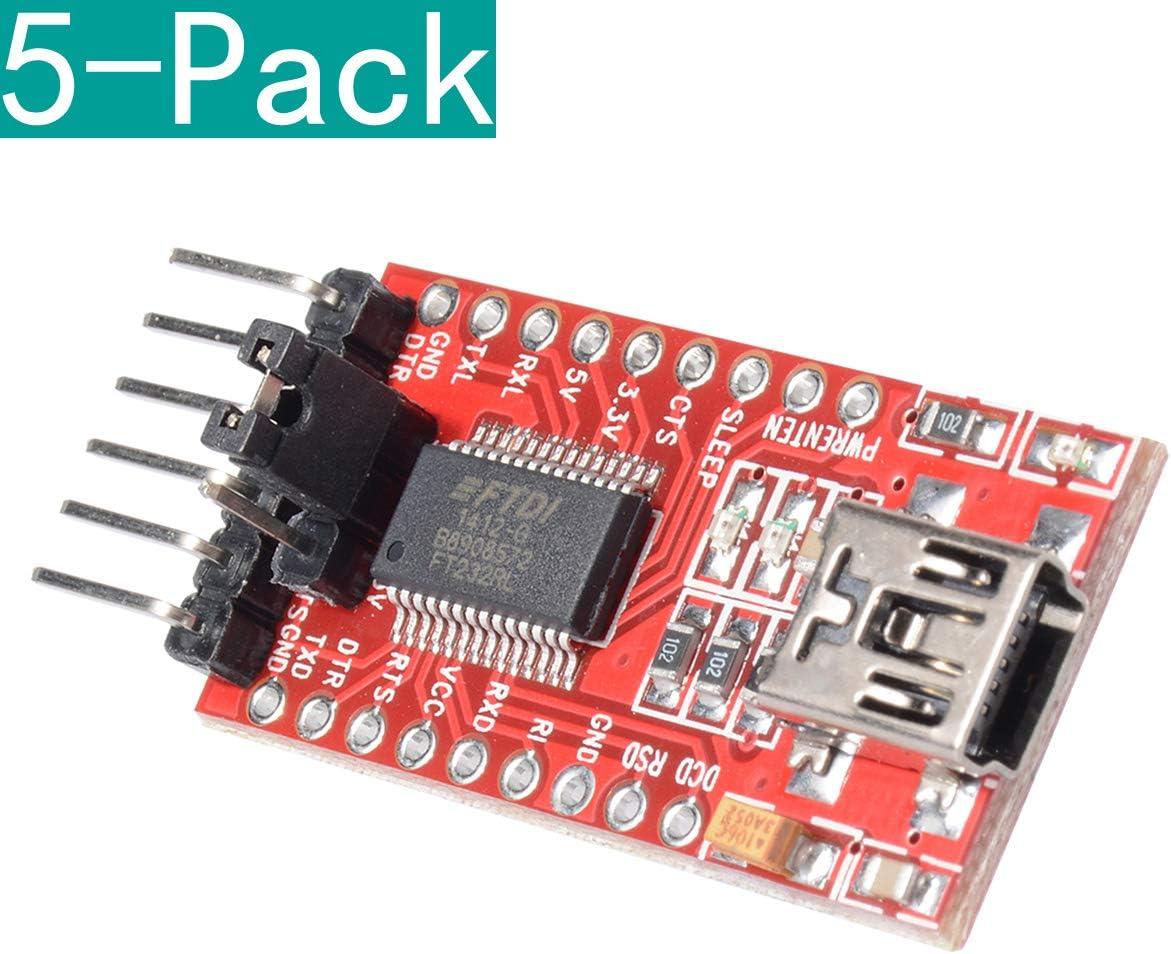 Youmile 5 Pack FT232RL FTDI USB a TTL Adaptador en Serie 3.3V 5.5V Módulo Mini Puerto para Arduino Mini Puerto: Amazon.es: Electrónica