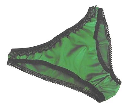 127b93bbabeaeb SHINY SATIN and lace BIKINI BRIEFS panties knickers EMERALD GREEN black  lace sizes XS to XXL