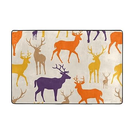 Amazon.com: Mi Diario Colorido ciervos silueta alfombra de ...