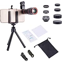 Akinger Phone Camera Lens for iphone 6 Plus/6/7/Samsung HTC Huawei,4 in 1 Lens Kit Telephoto Lens + Fisheye + Wide Angle + Macro Lens with Cell Phone Tripod,12X Zoom Telephoto Lens for Smartphone