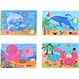 NUOLUX 4-In-1 Education And Learning Intelligence Toys Wooden Puzzles Jigsaw For Toddlers Cognitive Development Preschool Recognition Toys Kids Gift