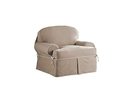 Serta Relaxed Fit Twill Furniture Slipcover For T Chair, Taupe/Ivory