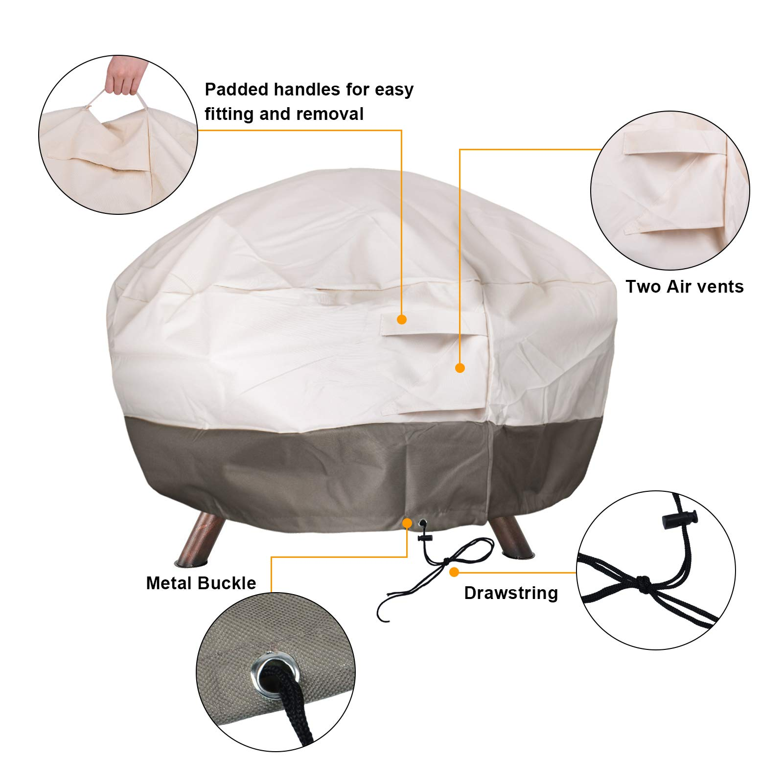 MIXC 91cm Round Fire Pit Cover Waterproof Heavy Duty 600D Thick Large Deluxe Oxford Weather Resistant Protective Outdoor Fire Bowl Cover Air Vents and Elastic Hem UV Protected for Garden BBQs Patio Sets with Bag and Fire Poker