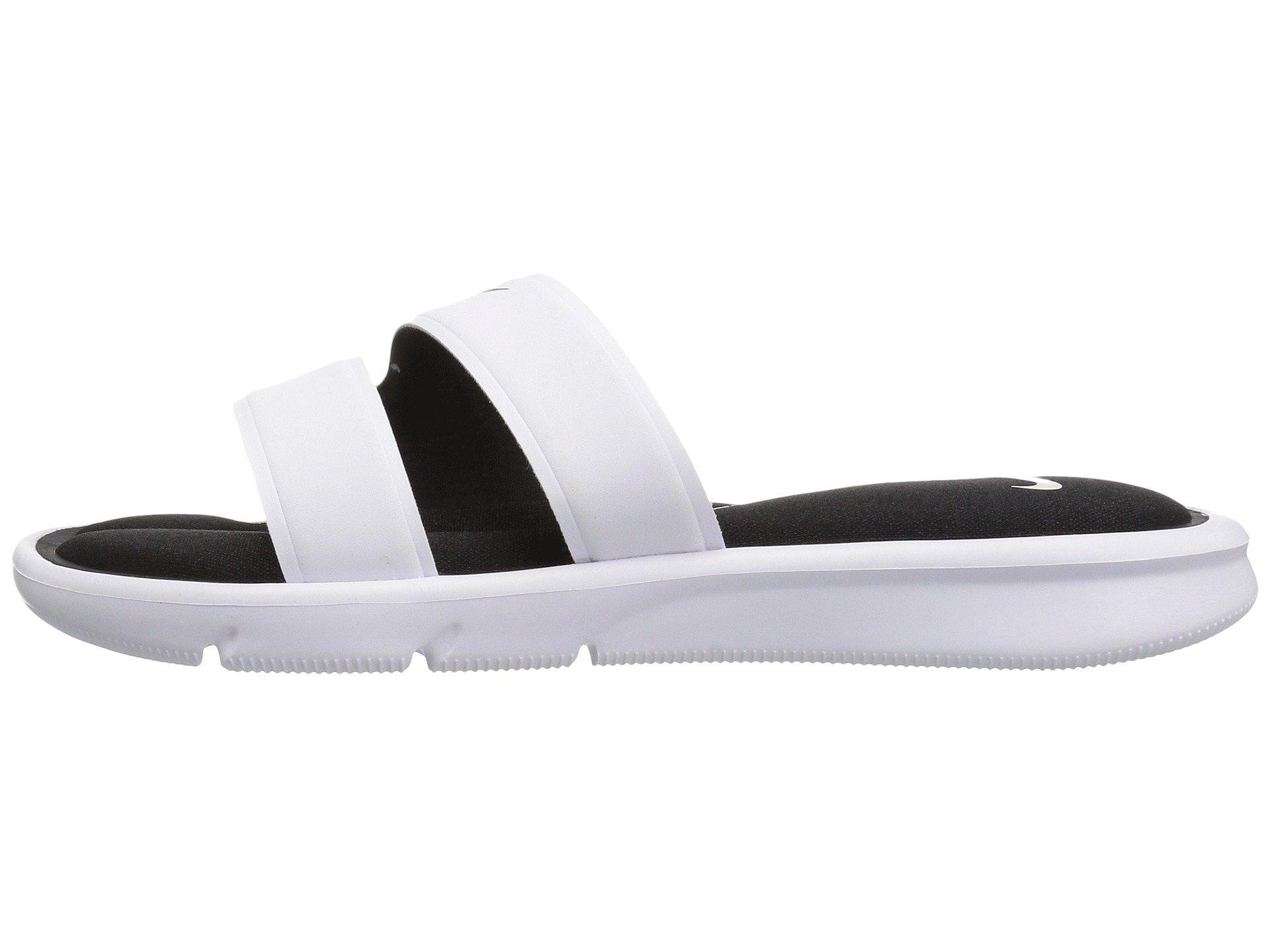 NIKE Women's Ultra Comfort Slide Athletic Sandal, White/Black, 8 B(M) US