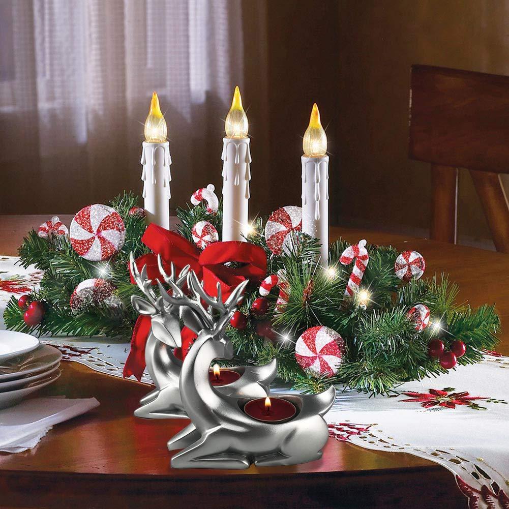 PoPo Kids Deer Tealight Candle Holder Set of 2 Decorative Tabletop Centerpiece Home D/écor Gold
