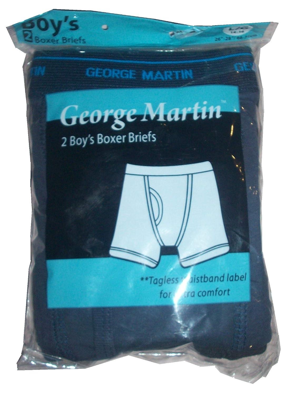 2 Pk Black Sz 14-16 George Martin Boys Boxer Brief Underwear